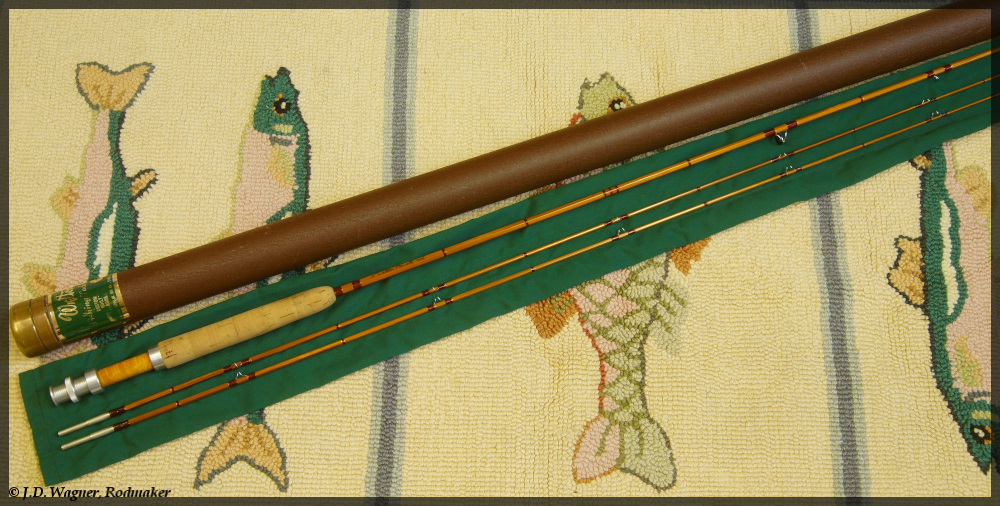 Vintage Walton Powell bamboo rod, J.D. Wagner, Agent